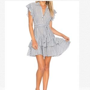 Rebecca Taylor Striped Tiered Ruffle Shirt Dress